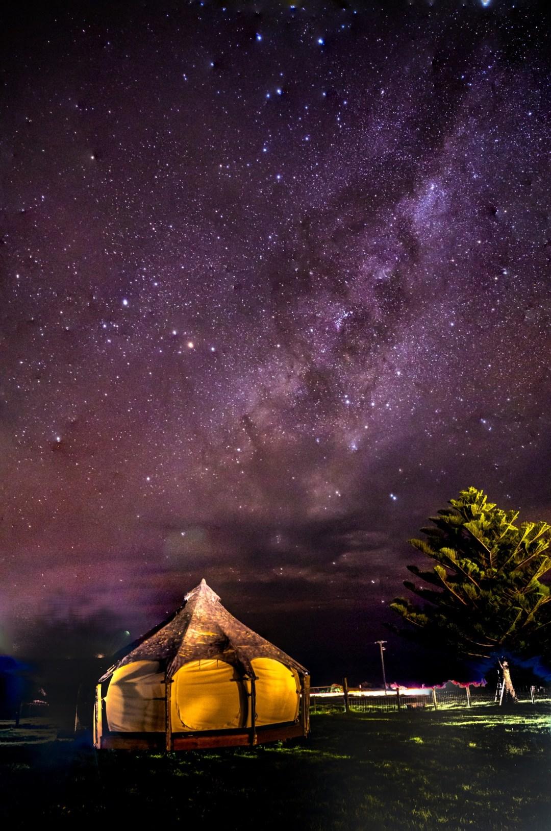 Seacroft Estate Lotus Bell Tent at Night