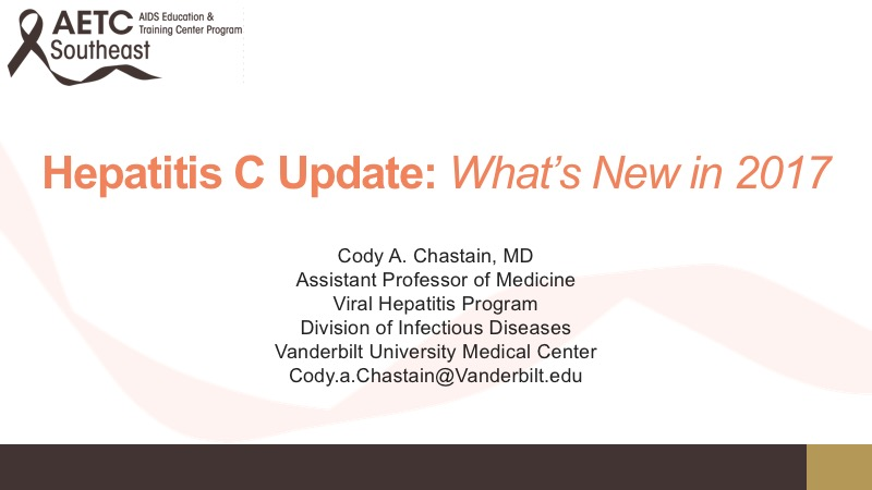 Webinar: Hepatitis C Update: What's New in 2017