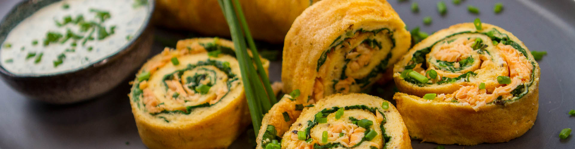 Salmon spinach herb souffle baked omelette