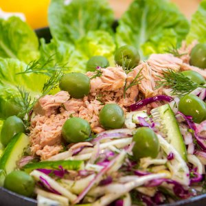 Low carb tuna green olive fennel salad
