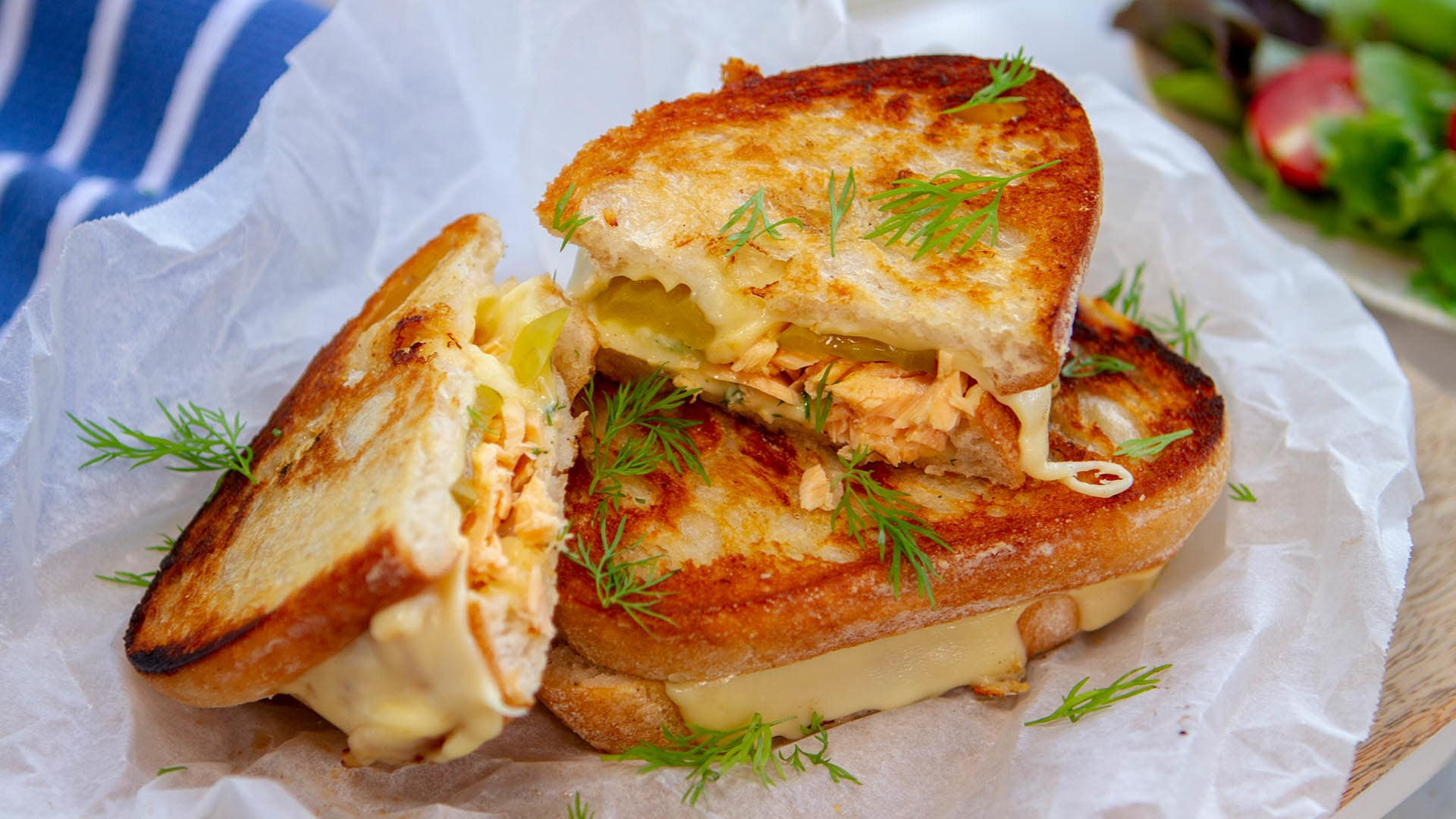 Salmon dill pickle toastie