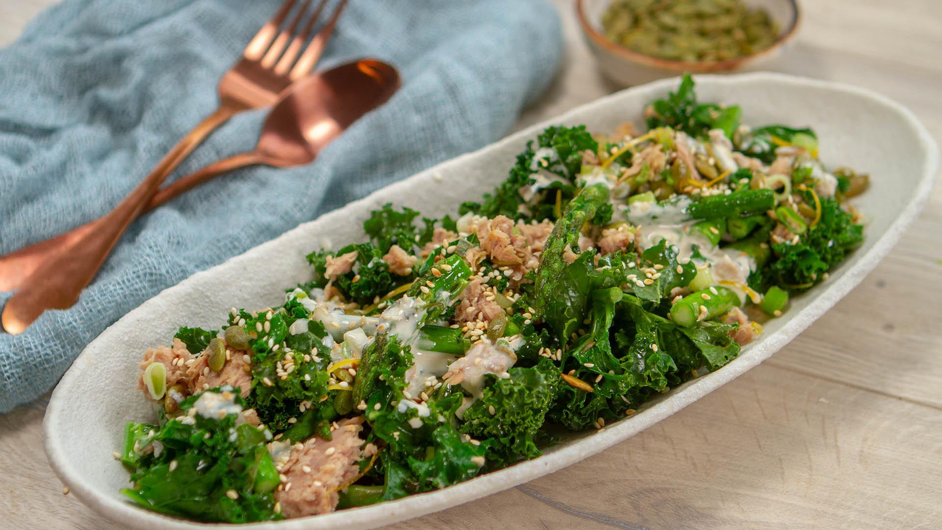 Tuna roast asparagus kale tahini salad