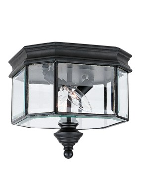 8834 12 Two Light Outdoor Ceiling Flush Mount Black