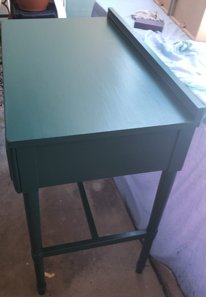 First coat of Green on the table.