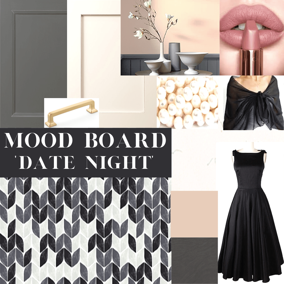 Mood board inspired by a black evening dress, shawl and lipstick