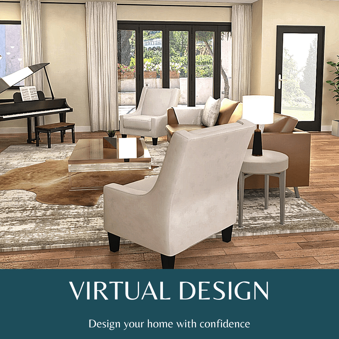 Graphic showing a rendering of a living room