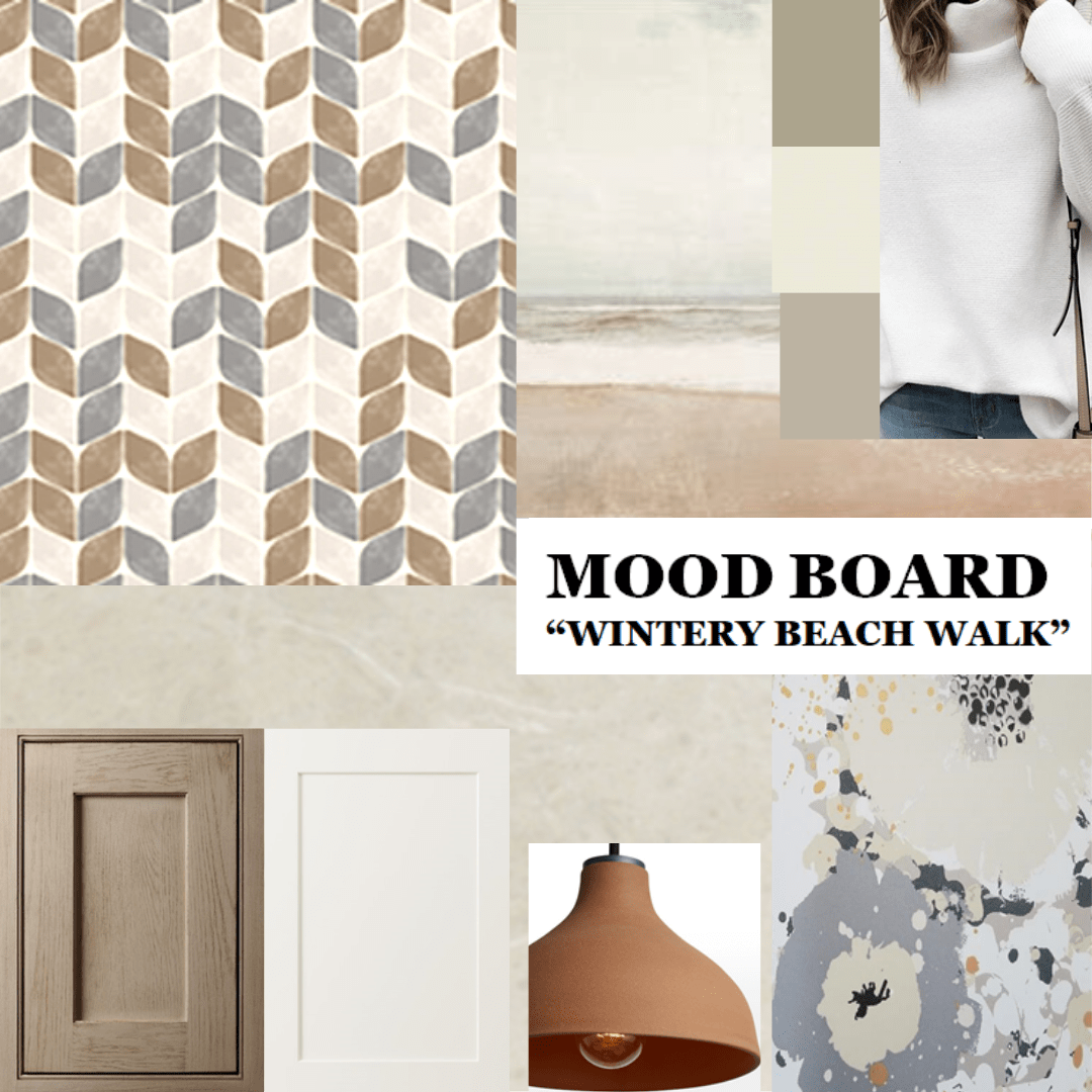 Mood board using the colors captured on a winter beach walk