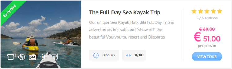 earlybird discount - Full Day sea kayak trip