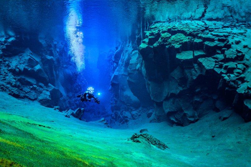 silfra crack iceland underwater photos