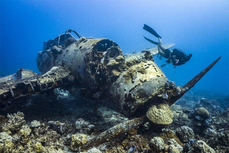 underwater airplane wreck photography palau ocean plane crash