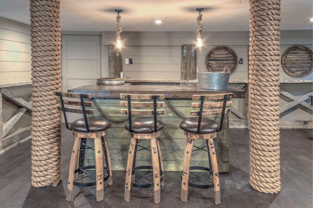 Renovation in Bora-Bora, Fenwick Island DE with Island Area, Vintage Bar Stools and Rope Lights