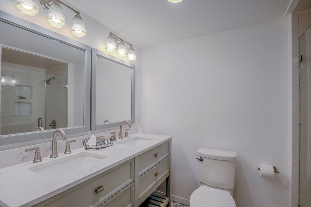 Renovation in Campbell Place, Bethany Beach DE - Bathroom with 60-inch Double Sink Vanity