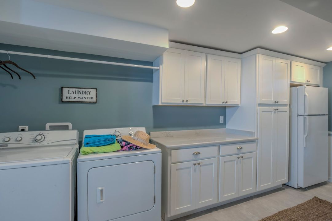 Renovation in Campbell Place, Bethany Beach DE - Laundry Area with Help Wanted Sign