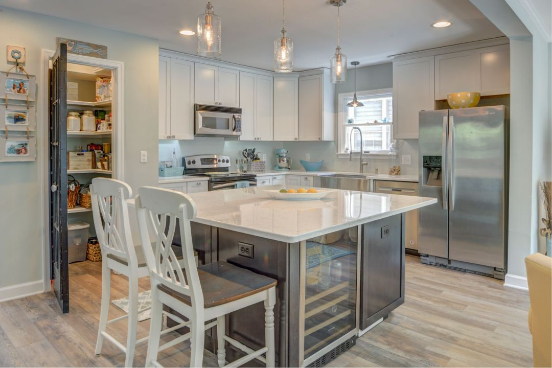 Renovation in Canal Drive, Millsboro DE with Center Island and White Countertop