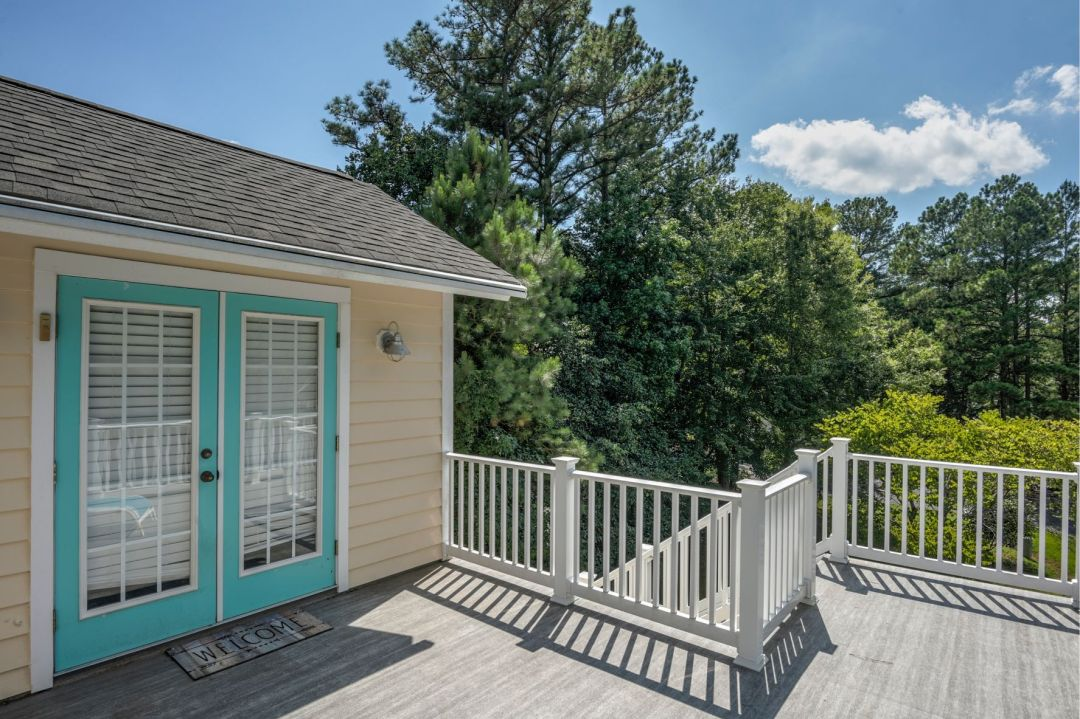 Renovation in Canal Drive, Millsboro DE - Deck with Teal Door Frame