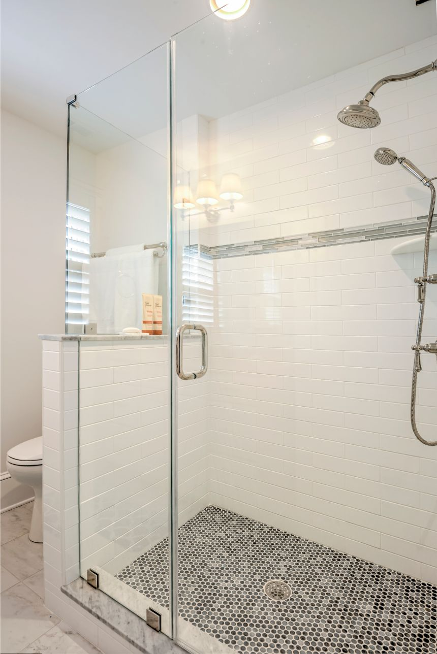 Bathroom with Mosaic Shower Floor Tiles