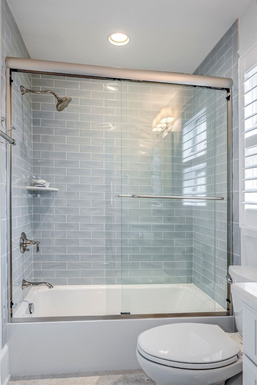 Bathroom with Light Gray Subway Wall Tiles