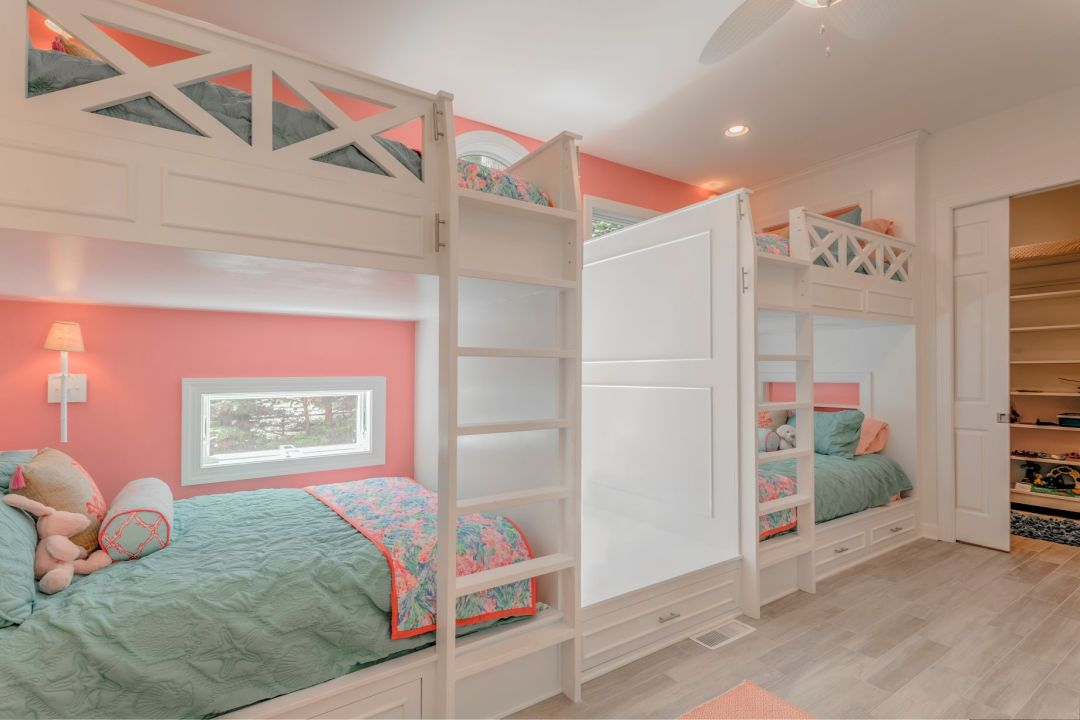 Addition in Juniper Court, Ocean Pines MD - Kids Bedroom with Bunk Beds, Coral Wall Paint and White Wooden Ladders