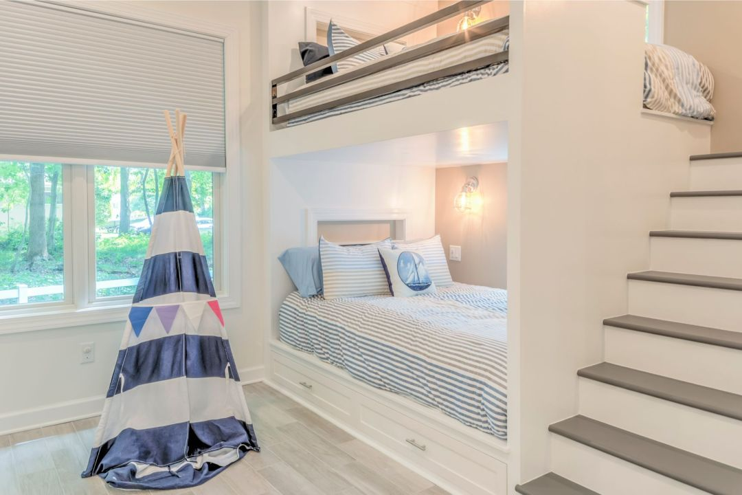 Addition in Juniper Court, Ocean Pines MD - Kids Bedroom with White Bunk Bed Frame and Native American Tent