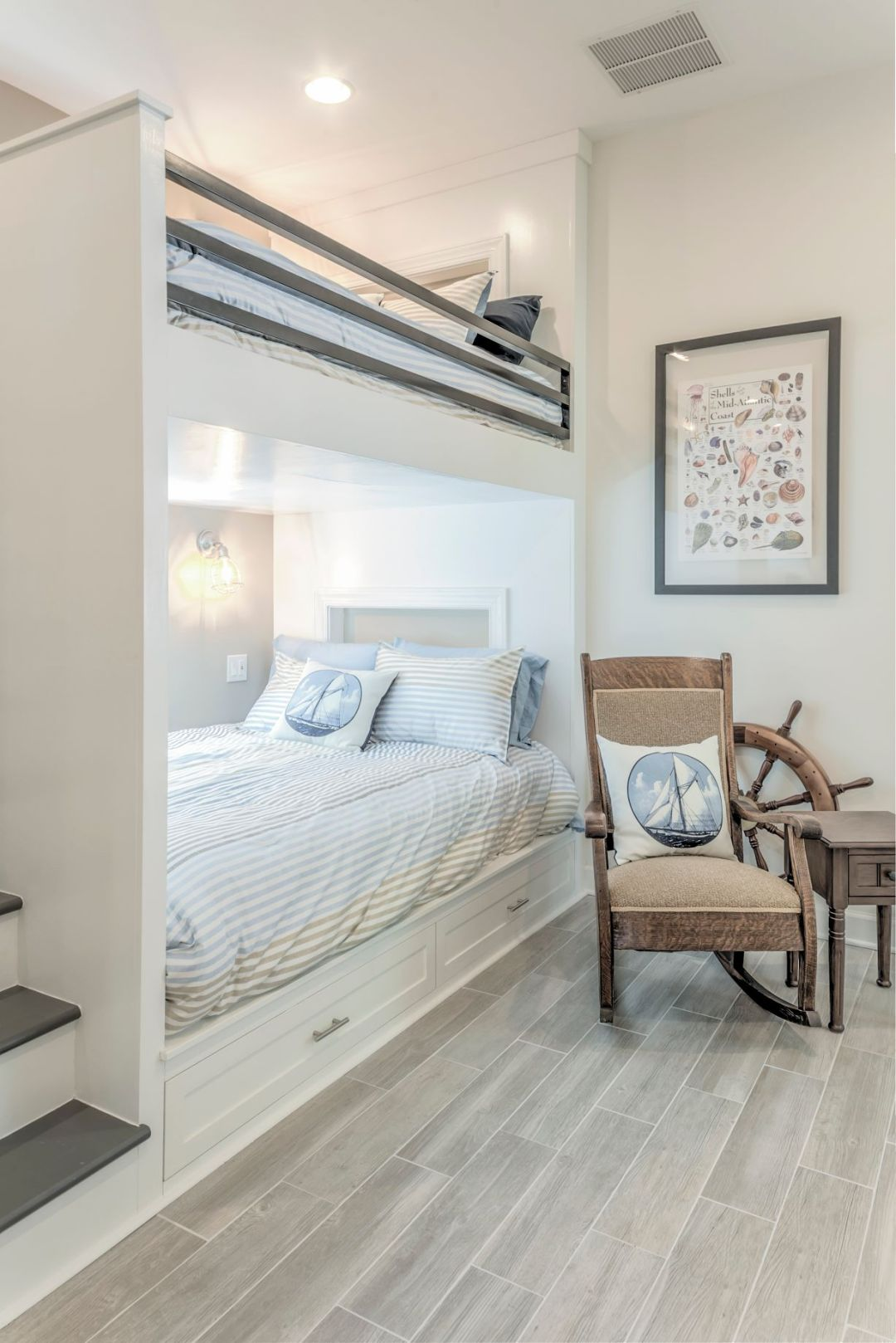 Addition in Juniper Court, Ocean Pines MD - Kids Bedroom with White Wall Paint and Cozy Rocking Chair for Bedtime Stories