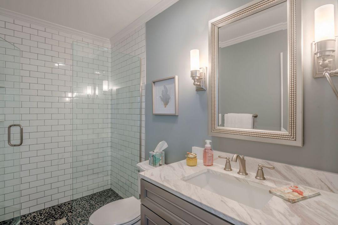 Bathroom Remodel in Kings Grant, Fenwick Island DE with Pure White Caesar Stone Granite Top