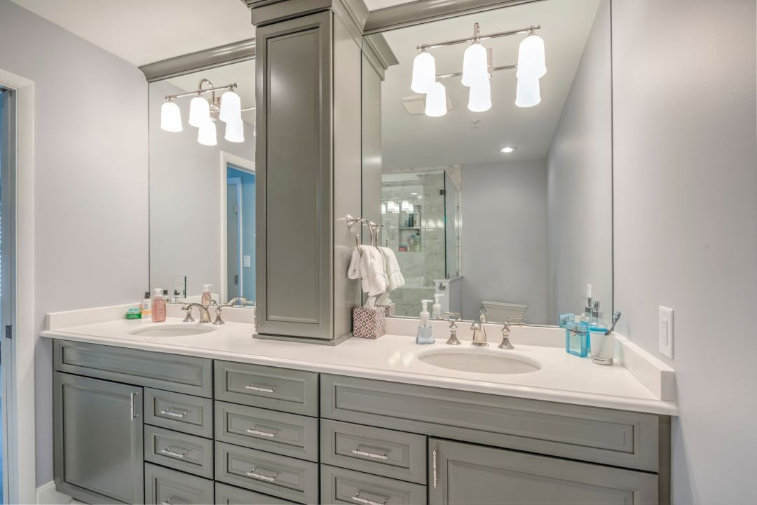 Bathroom Remodel in Kings Grant, Fenwick Island DE with Separated Mirrors and Greyloft Maple Vanities