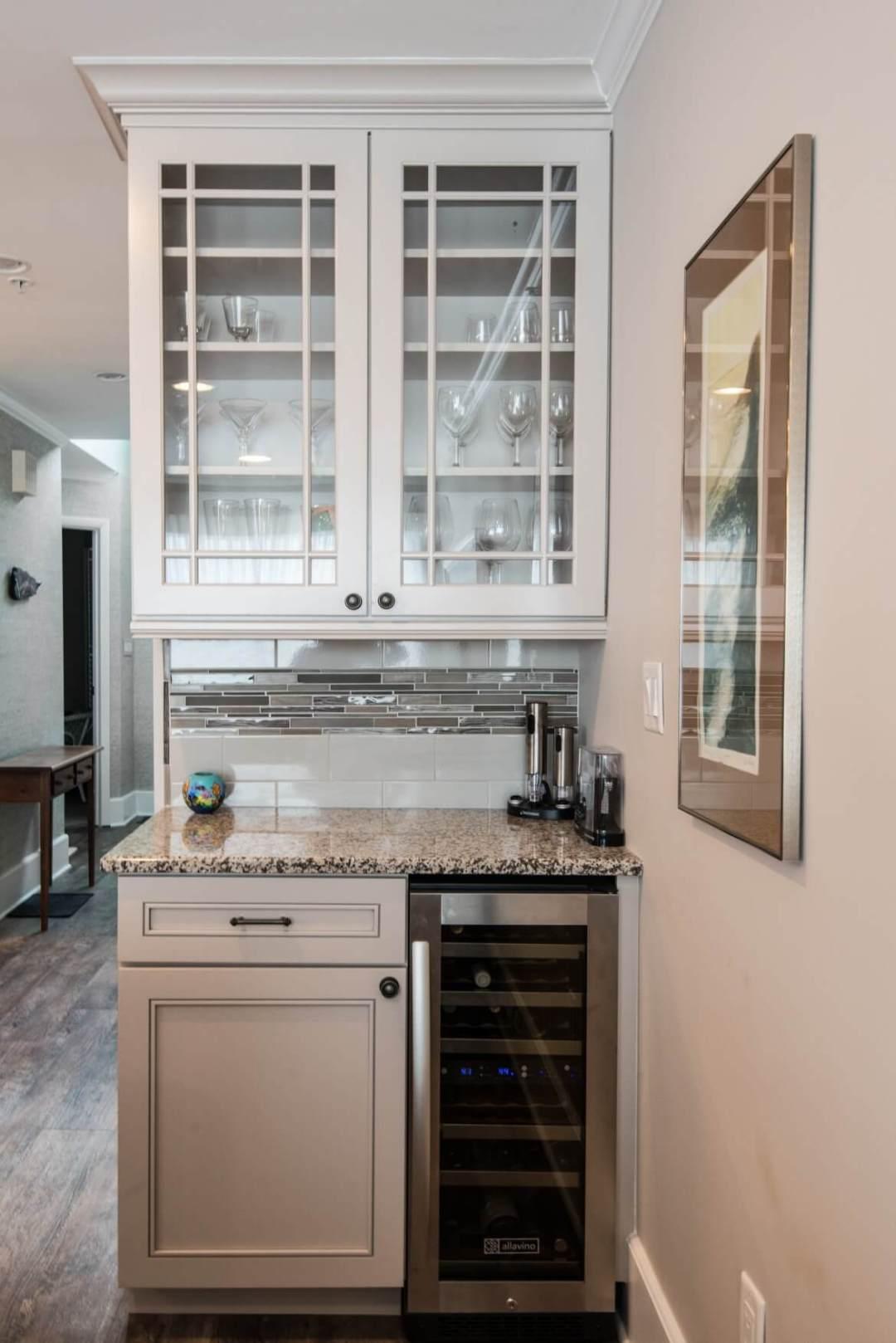 Kings Grant Renovation Vol.2 Fenwick Island, DE Kitchen Beverage Center with Granite Countertop and White Glass Cabinets