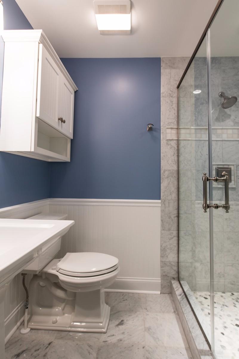 Bathroom Remodel in Ocean Ridge, Bethany Beach DE with Memoirs Elongated Toilet and Glass Shower Door