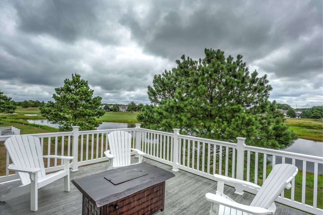 Deck Addition in October Glory, Ocean View DE with White Railing