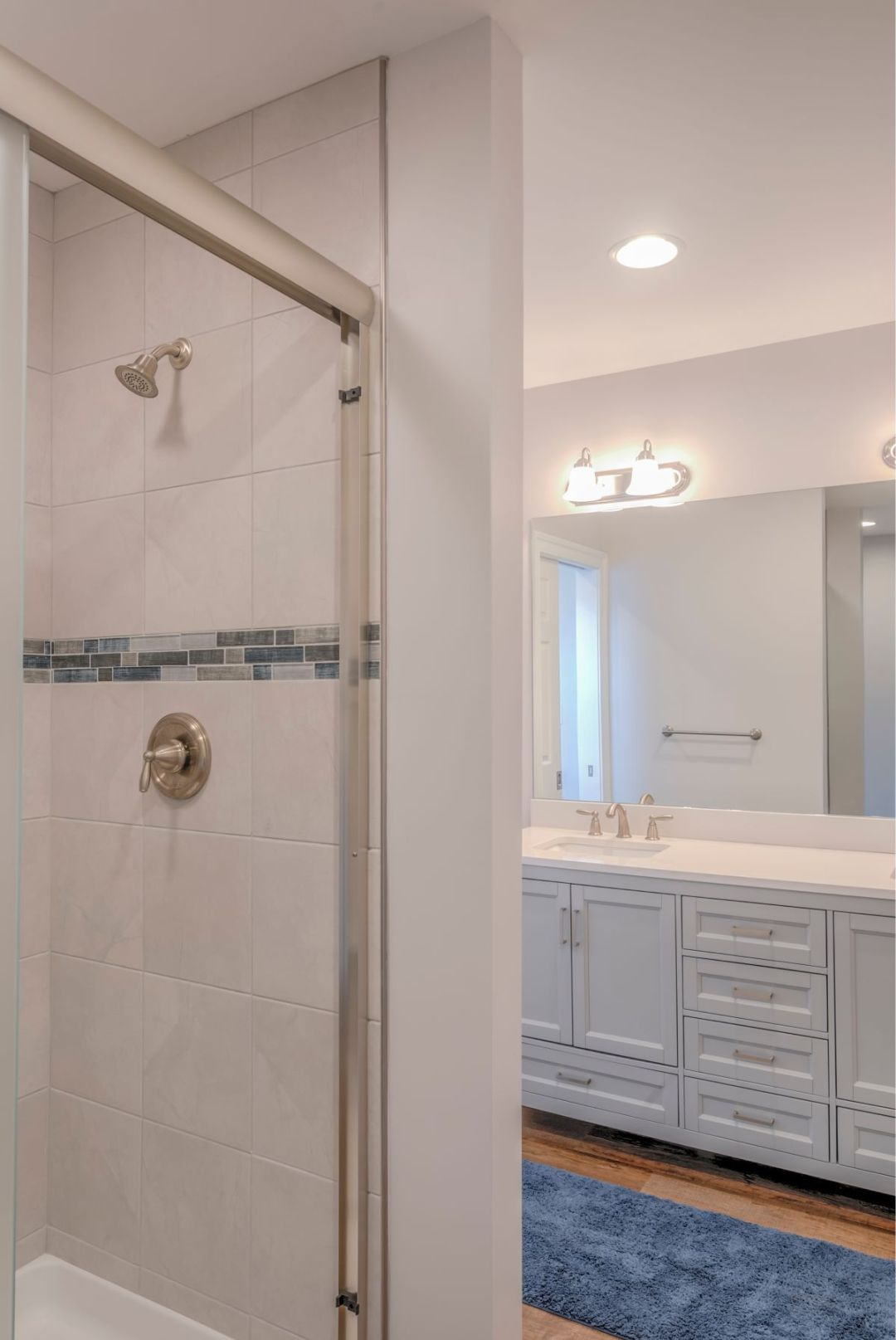 New Addition in October Glory, Ocean View DE - Bathroom with Bevalo 12x12 Dove Tiles