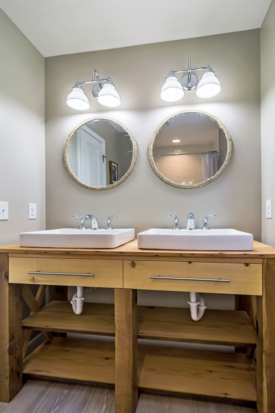 Bathroom with Dual Sinks, Dual Mirrors and Dual Lighting in Wellington Parkway, Bethany Beach DE Renovation