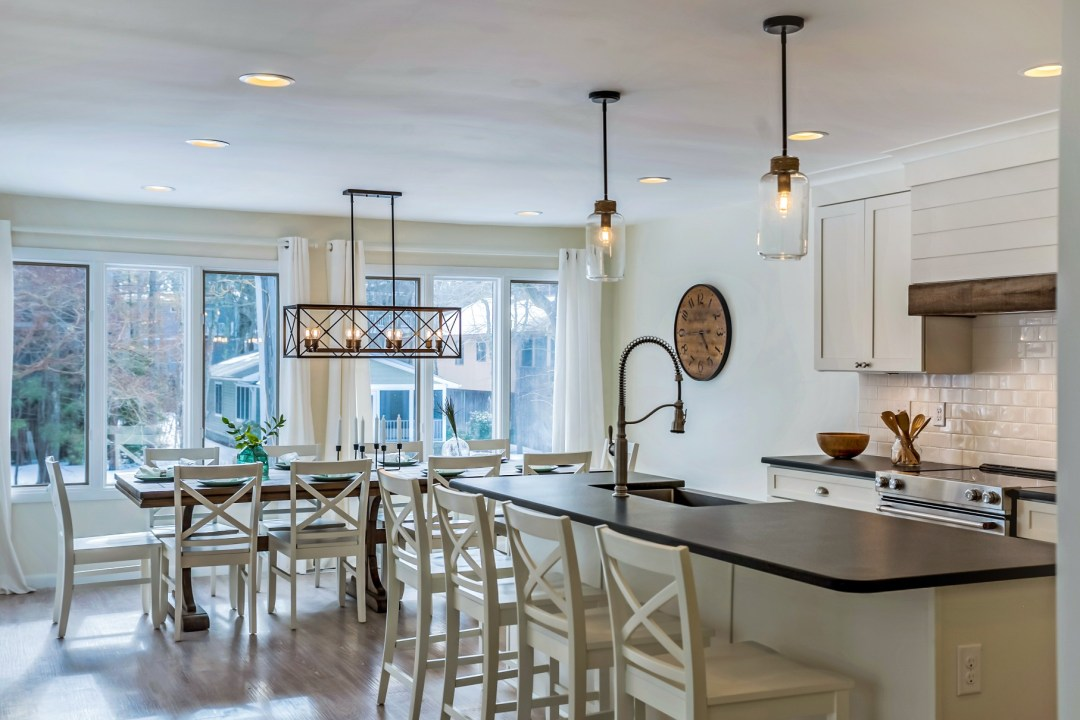 Dining Area with Large Table and Center Isle in Wellington Parkway, Bethany Beach DE Renovation