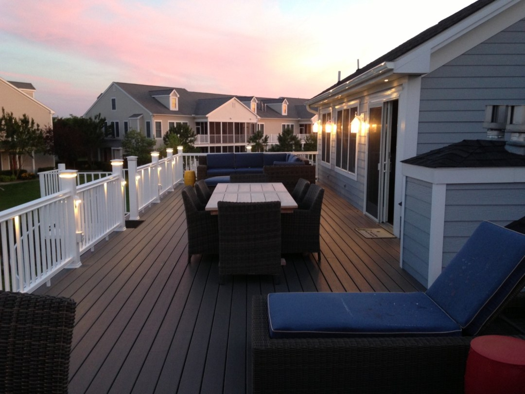 Willow Oak Deck Addition in Bear Trap Dunes, Ocean View DE with PVC Extruded Decking and Patio Furniture