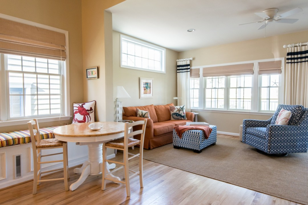 Willow Oak New Addition in Bear Trap Dunes, Ocean View DE Family Room Area with Bench Seats and Large Windows