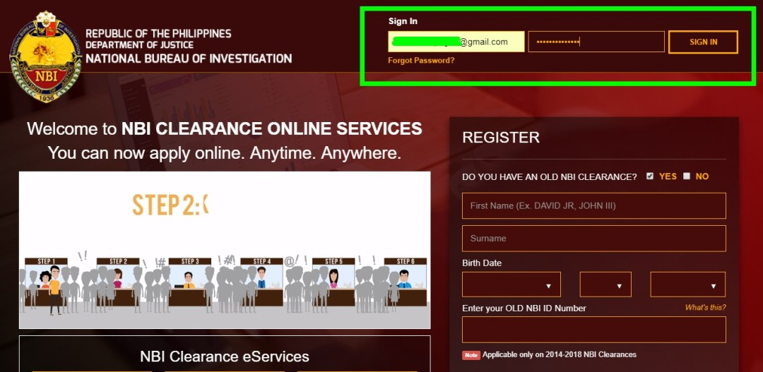 NBI Clearance Online Application Sign in Page