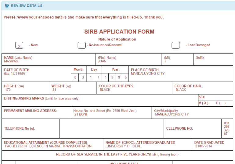 SIRB application form for SIRB Renewal Online