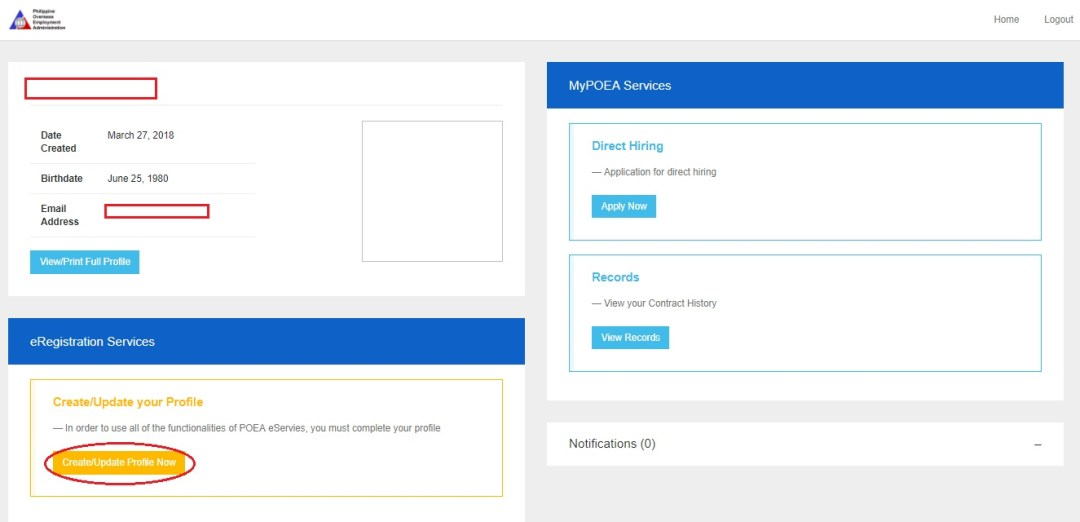 MyPOEA Services. Online Registration Dashboard