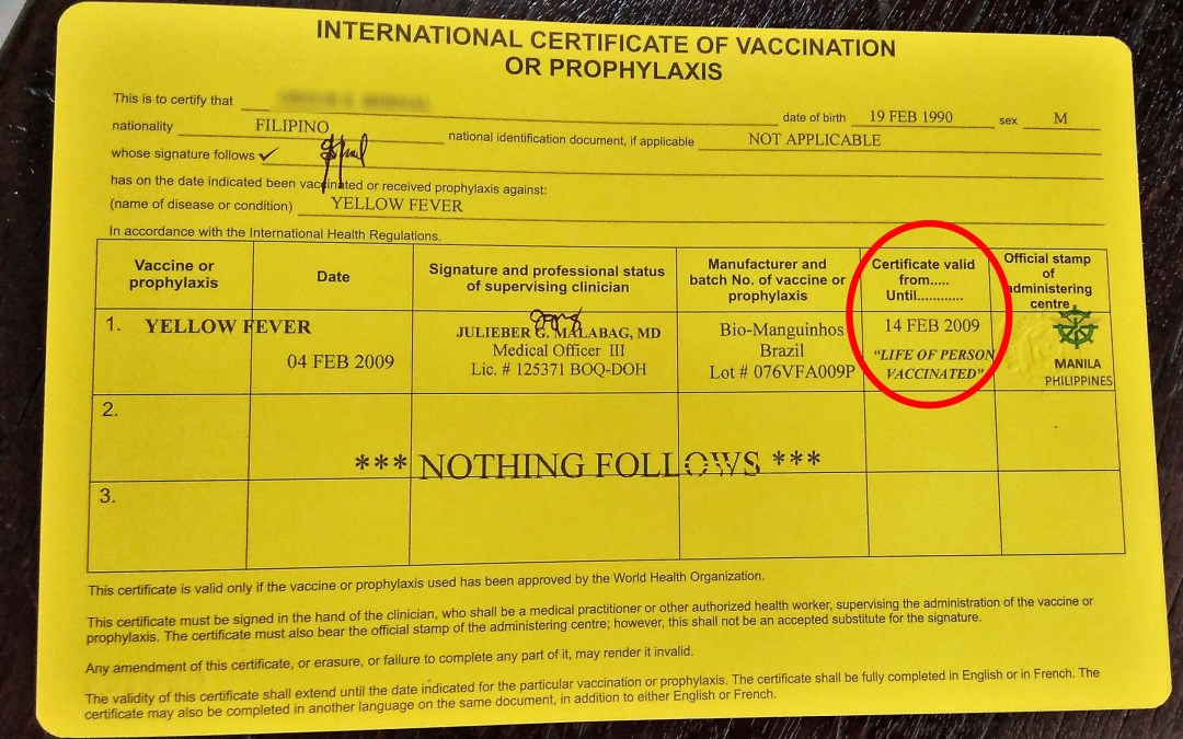 Yellow Fever Certificate with Lifetime Validity