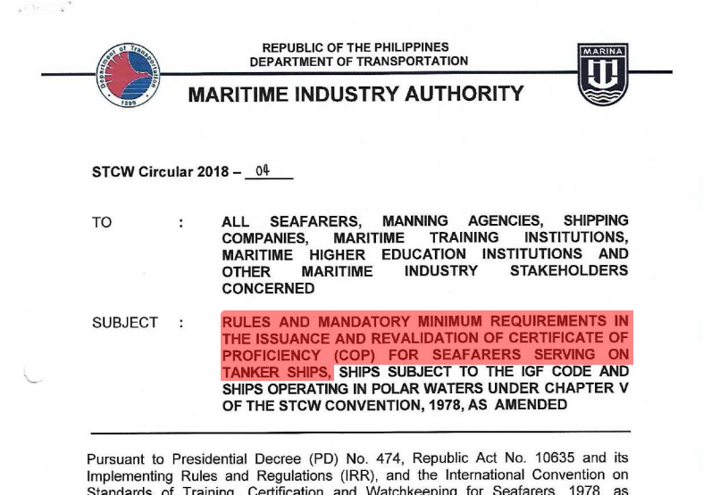 STCW Circular 2018-04 Highlighting Tanker Courses. You can view the MARINA requirements for COP application of BTOC, BTLGT, ATOT, ATCT and ATLGT.