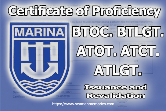 MARINA Requirements for COP of BTOCT, BTLGT, ATOT, ATCT & ATLGT