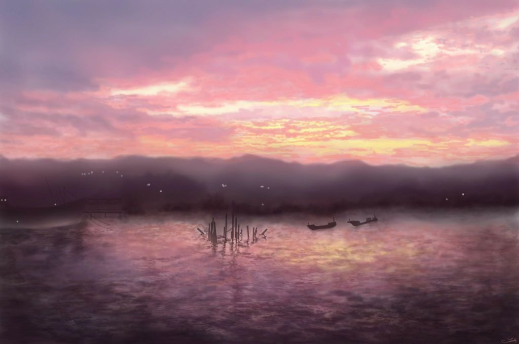 Drawn by a Seawoman. Pink Waters. Pink Sky.
