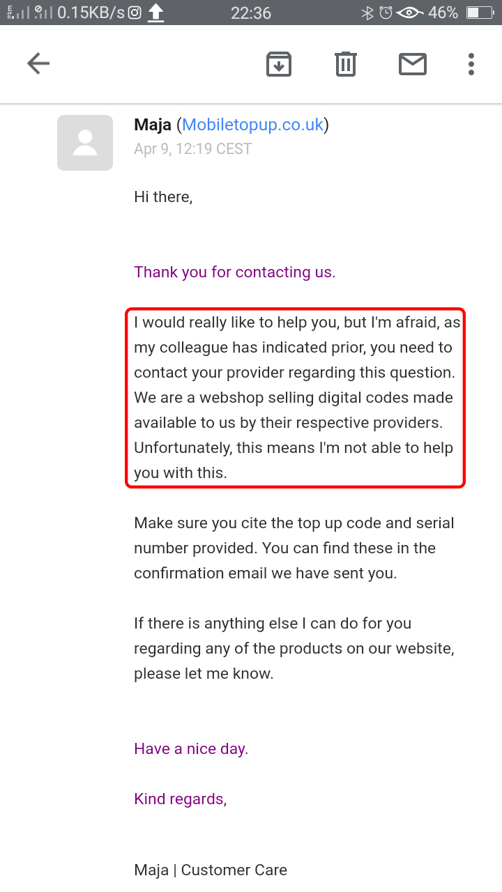 Reply from the vendor- Mobile Top Up UK