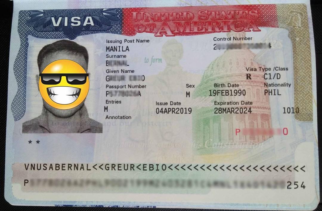 US visa of a Filipino seaman