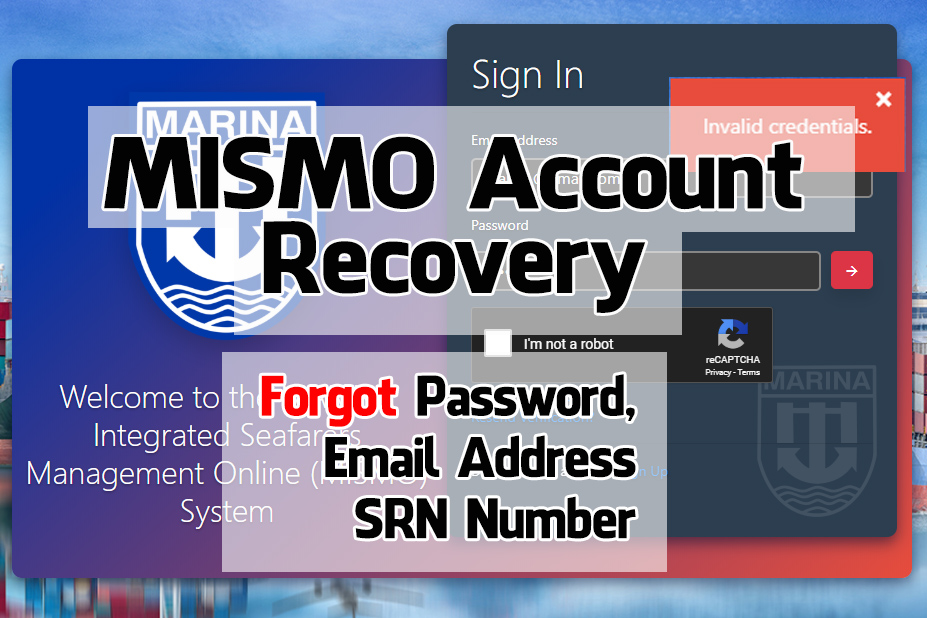 How to Recover Your MARINA MISMO Account- Forgot Password, Email Address and SRN Number