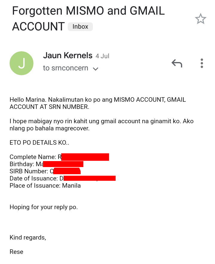 Email request to recover your marina mismo account