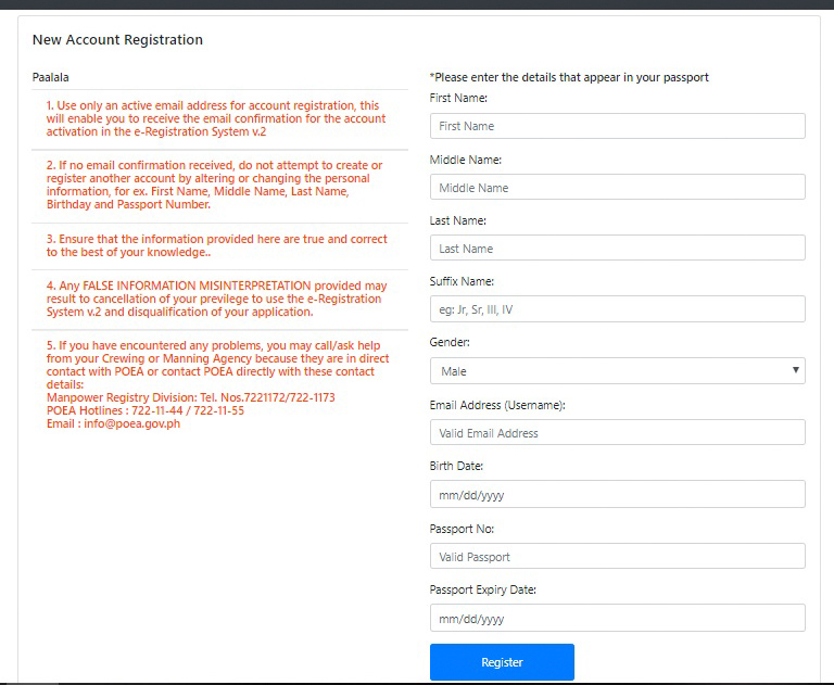 New account registration for version 2 containing very important reminders and the blank details that you have to fill up according to what appears in your passport.