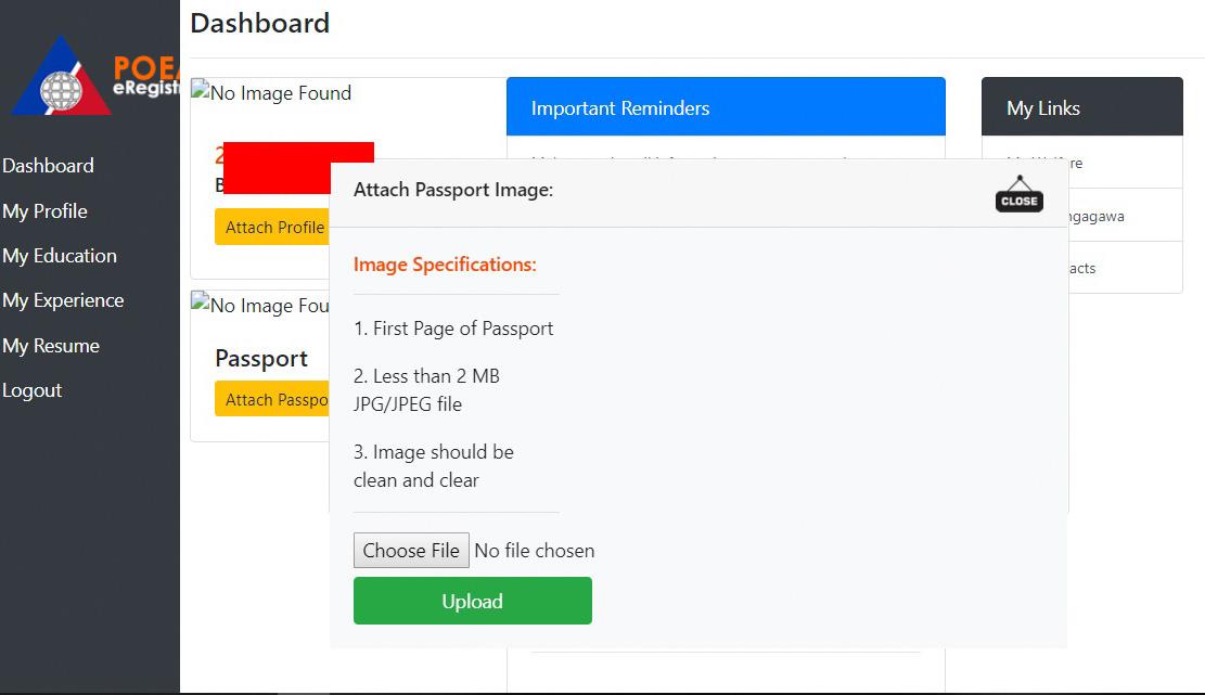 Dashboard. Passport image specs prior uploading.