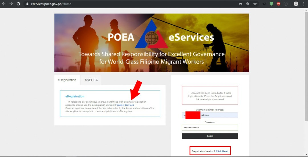 Old POEA eservices website providing link to their new eregistration version 2