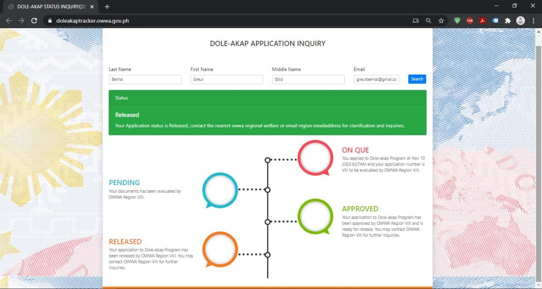 DOLE-AKAP Tracker Application Status Inquiry