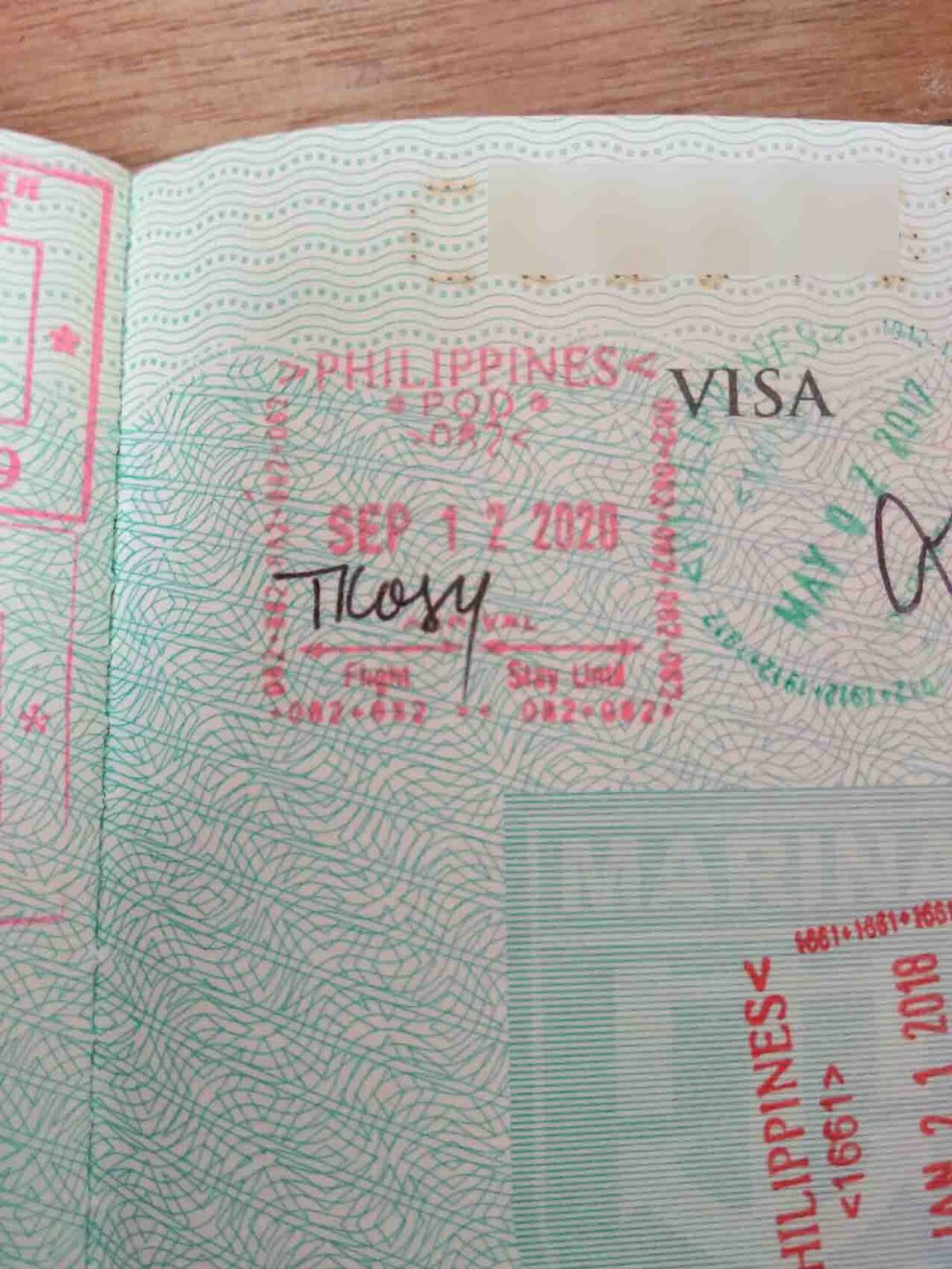 Proof of latest arrival in the Philippines (Arrival Stamp)